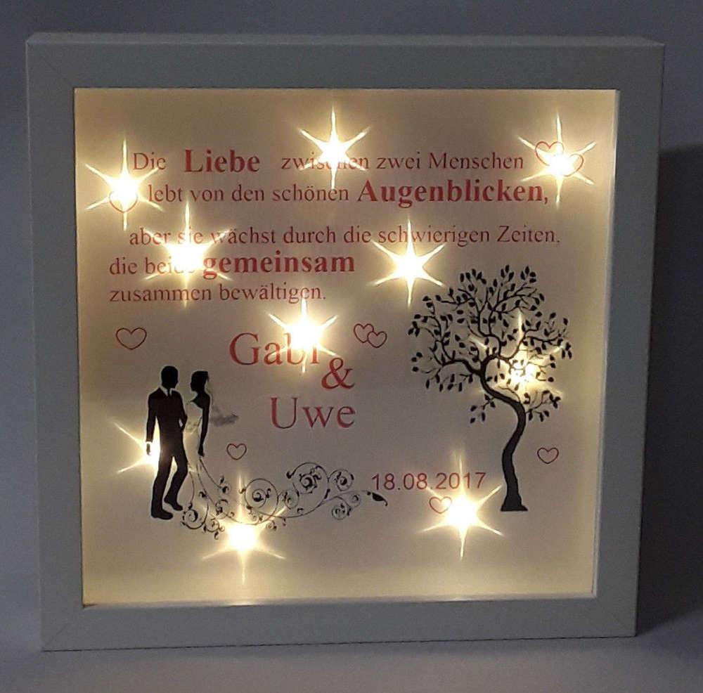 Bilderrahmen beleuchtet LED Hochzeit Name+Datum Geschenk ...