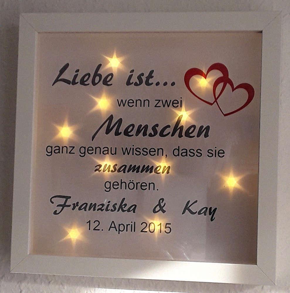 Bilderrahmen beleuchtet LED Hochzeit Verlobung Geschenk Hochzeitstag ...