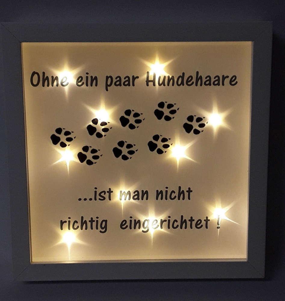 Bilderrahmen beleuchtet Hund Katze Tiere Spruch Geschenk 535/52 ...